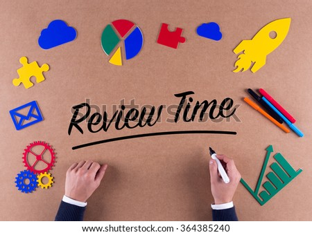 Business Concept-Review Time word with colorful icons