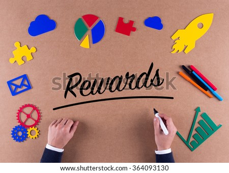 Business Concept-Rewards word with colorful icons