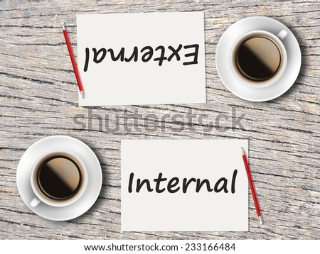 Business Concept (Rotatable) : Two Coffee, Papers And Pencils On The Table  Facing Each Other Head To Head To Compare Between Internal And External. - stock photo