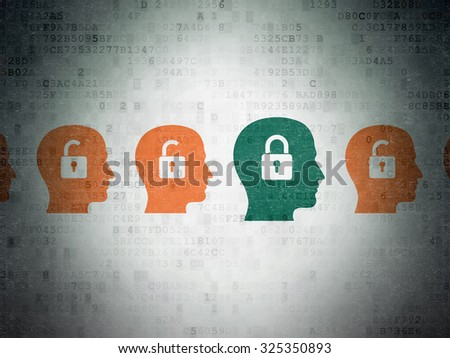 Business concept: row of Painted orange head with padlock icons around green head with padlock icon on Digital Paper background