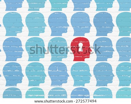 Business concept: rows of Painted blue head icons around red head with keyhole icon on White Brick wall background, 3d render - stock photo