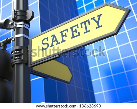 Business Concept. Safety Sign on Blue Background. - stock photo