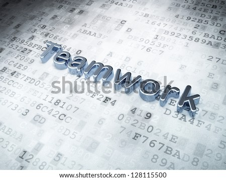 Business concept: Silver Teamwork on digital background, 3d render