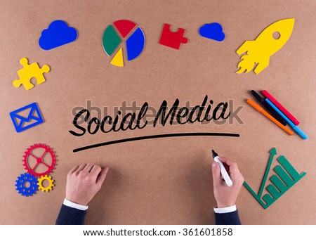 Business Concept-Social Media word with colorful icons