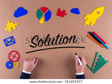 Business Concept-Solution word with colorful icons