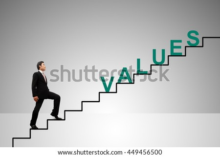 Business Concept. Stairs to values.
