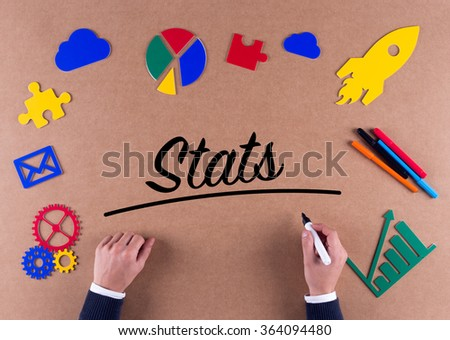 Business Concept-Stats word with colorful icons - stock photo