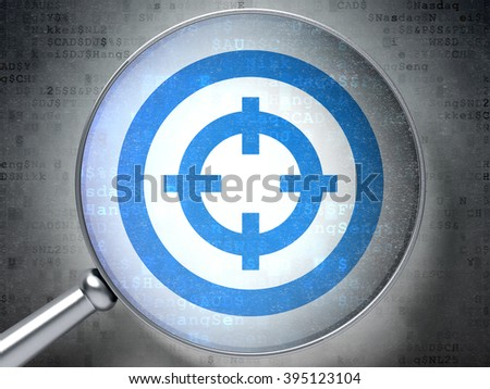 Business concept: Target with optical glass on digital background - stock photo