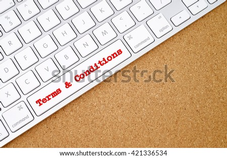 Business concept : Terms & Conditions on computer keyboard background with copyspace area.  - stock photo