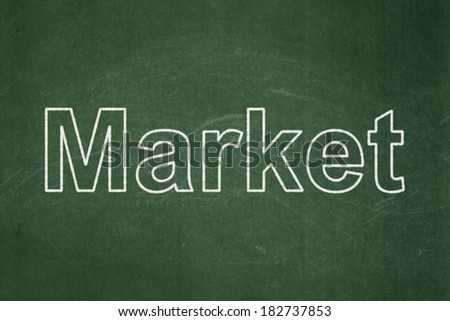 Business concept: text Market on Green chalkboard background, 3d render