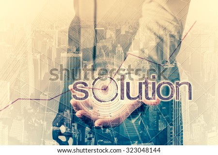 Business concept - the solution for high statistics. Double exposure. - stock photo