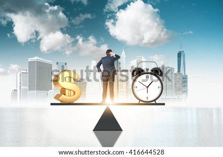 Business concept, time is money. Businessman on scale making decisions between money and clock with New York city and sky in the background - stock photo