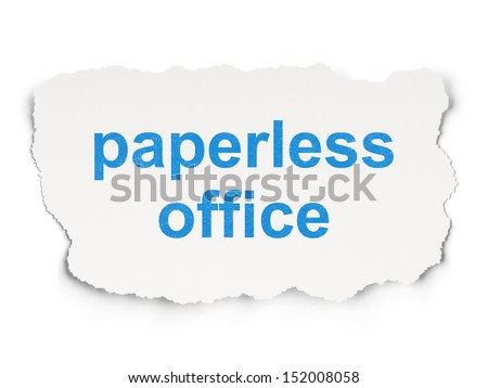 Business concept: torn paper with words Paperless Office on Paper background, 3d render - stock photo