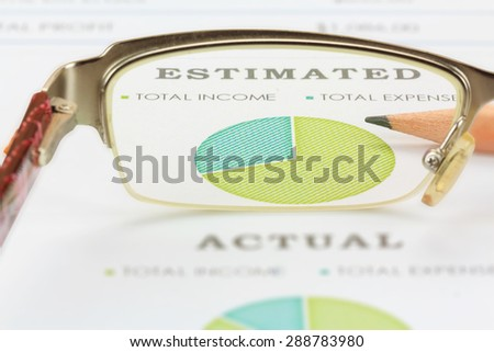 Business Concept, View through eyeglasses