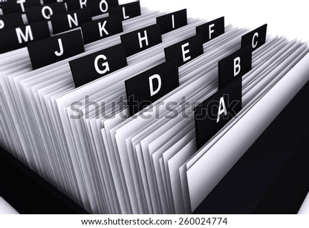 Business concept with a 3d rendering close-up view of a office customers file and documents directory archive with alphabet letters. - stock photo