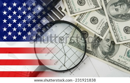 Business concept with calculator, money and documents, collage with usa flag - stock photo