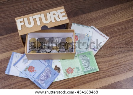 Business Concept with  coins and bank notes. Selective focus