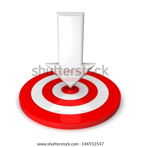 Business concept with 3d darts in bullseye. Dart Hitting A Target, Isolated On White Background