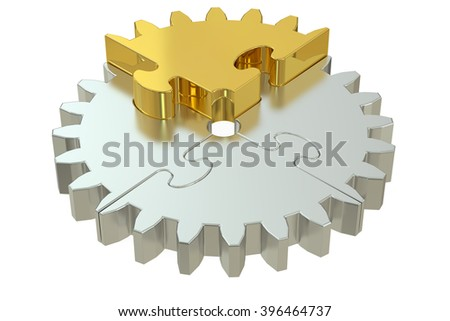 Business concept with gear puzzle, 3D rendering