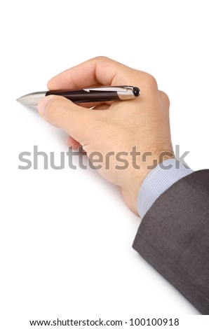 Business concept with hand writing on white - stock photo