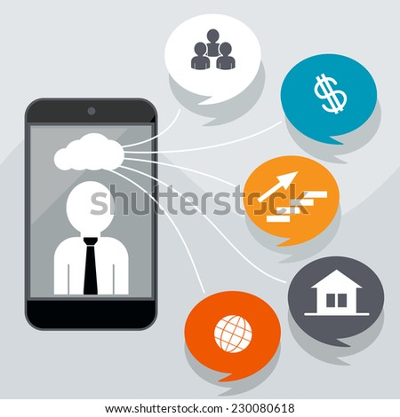 Business concept with icons of contacts, home page, finance, network, career. Man in smartphone with cloud of icons. Raster version - stock photo