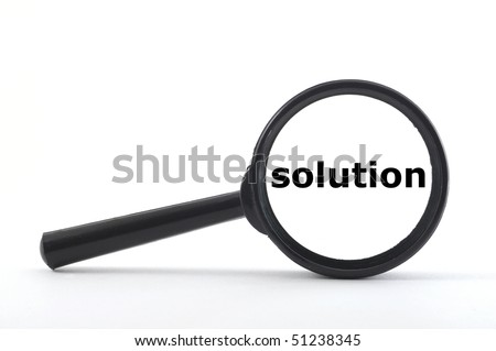 business concept with magnifying glass isolated on white