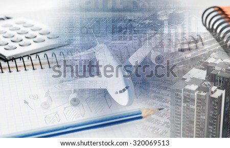 Business concept with stationary staff on table