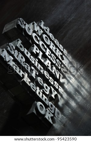Business concept: words of antique metal letter-press type.