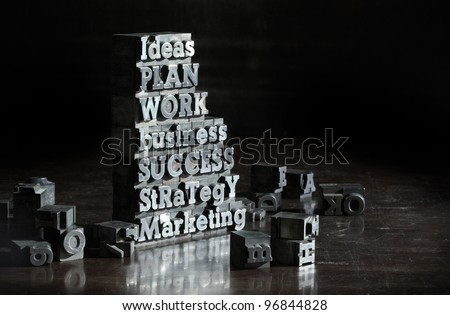 Business concept: words of antique metal letter-press type. - stock photo