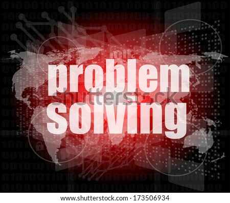 business concept: words problem solving on digital screen - stock photo