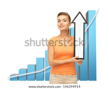 business concept - young woman with rising graph and arrow directing up - stock photo
