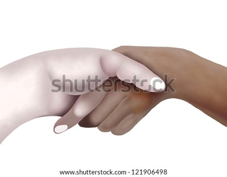 Business Concepts, African American Man Shaking Hands with A Caucasian Man in Business Deal Isolated on White Background - stock photo