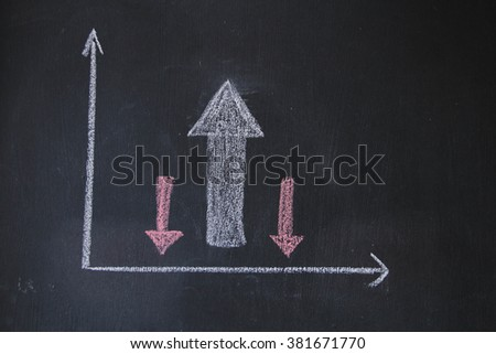Business concepts design on black board. Design of up and down with white chalk. This photo can use for success in business concept.