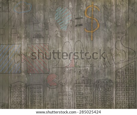 Business concepts doodles on old brown wooden wall background - stock photo