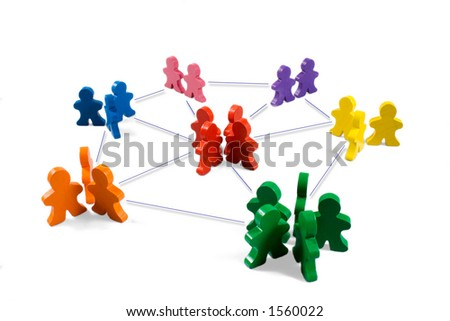 Business concepts illustrated with colorful wooden people - networking, organizational groups, or workgroups. - stock photo