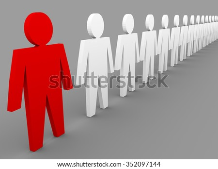 Business concepts illustration. Individuality in team. Red and white people - stock photo