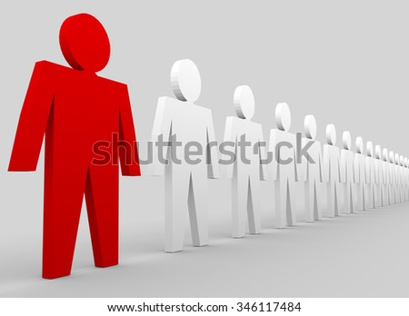 Business concepts illustration. Leadership in team. Red and white people - stock photo