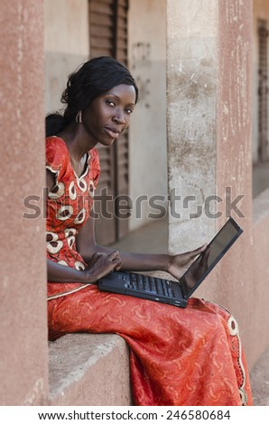 Business Concepts: Portrait African Woman Working On Laptop University - stock photo