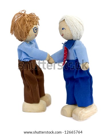 Business concepts, two happy businessmen shaking hands - stock photo