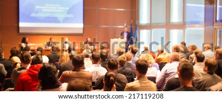 Business Conference and Presentation. Audience at the conference hall. - stock photo
