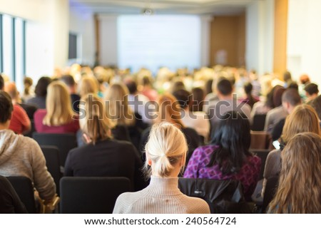 Business Conference and Presentation. Audience at the conference hall. Business and Entrepreneurship. - stock photo