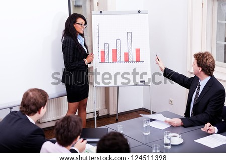 business conference presentation with team training flipchart office - stock photo