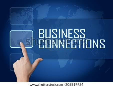 Business Connections concept with interface and world map on blue background - stock photo