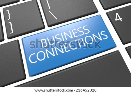Business Connections - keyboard 3d render illustration with word on blue key - stock photo