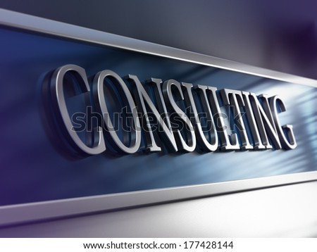 Business consultancy, perspective view with depth of field effect, blue and purple tones. Concept image suitable for consulting firm.