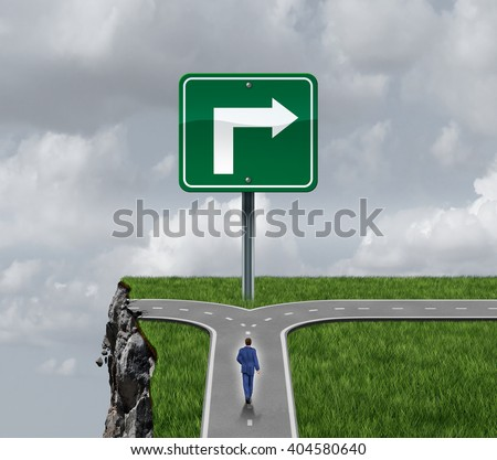 Business consulting concept as a businessman at a crossroad with one half leading to a dangerous cliff and a sign pointing towards a path to success as a metaphor for advising as a 3D illustration. - stock photo