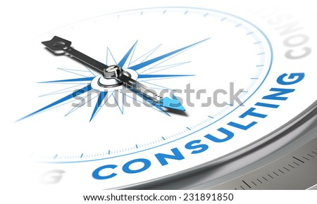 Business consulting concept image, Compass with needle pointing the word consulting, blue tones over white background - stock photo
