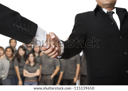 Business contracts.handshake isolated - stock photo