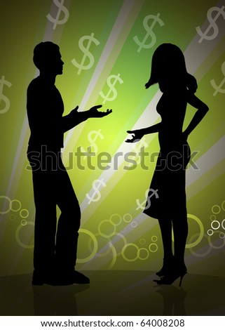 Business conversation silhouette illustration