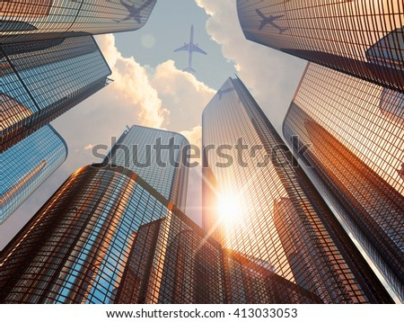 Business corporate construction industry and real estate financial concept: 3D render illustration of sunset with modern high tall glass reflective skyscrapers in city downtown district and airliner
